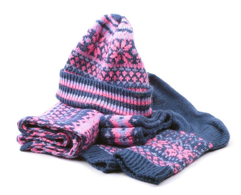Woollen Set des Winters getrennt auf weißem Hintergrund lizenzfreie stockfotografie