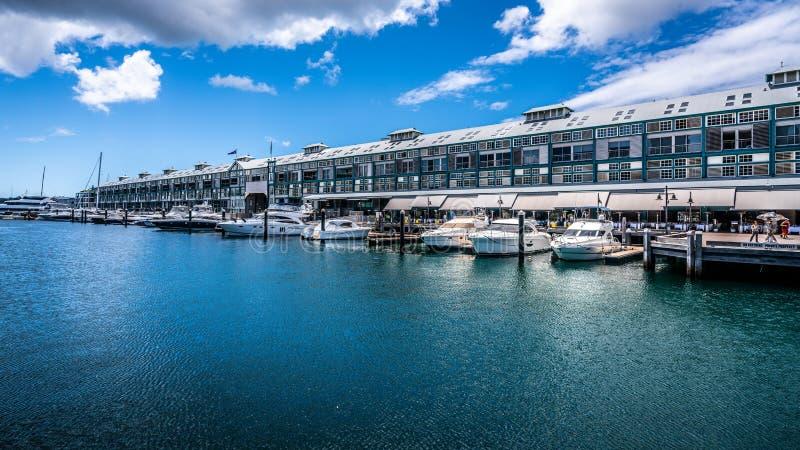 Woolloomooloo Finger Wharf and marina with yachts in Woolloomooloo bay Sydney NSW Australia stock photos