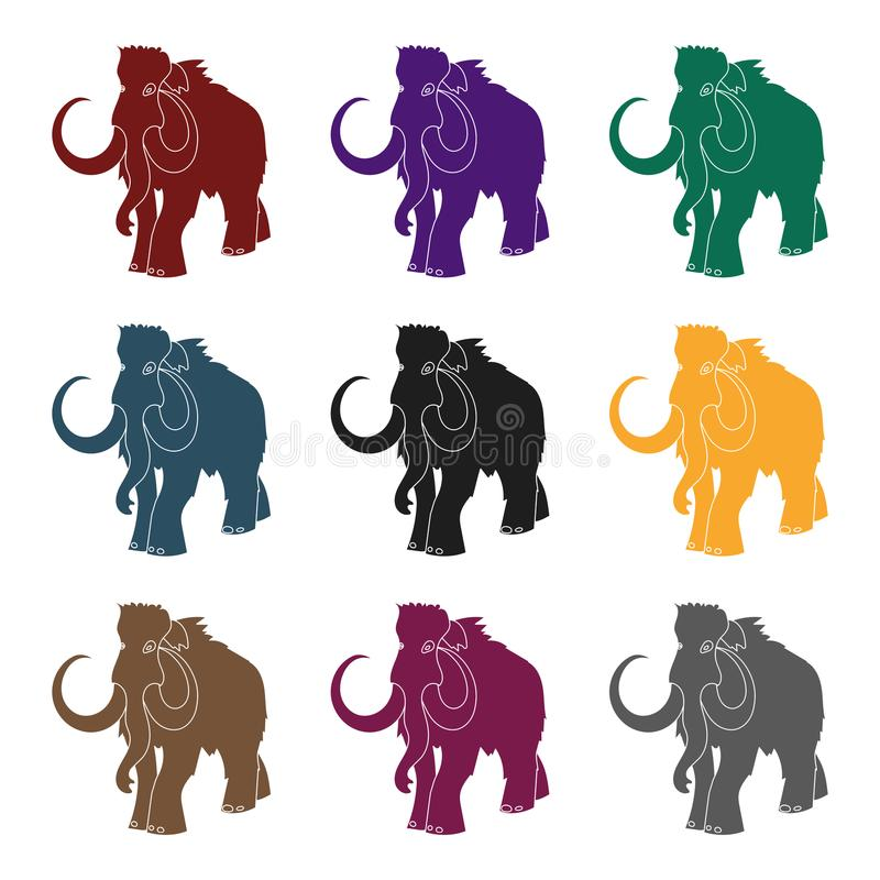 Woolly mammoth icon in black style isolated on white background. Stone age symbol stock vector illustration. Woolly mammoth icon in black style isolated on stock illustration