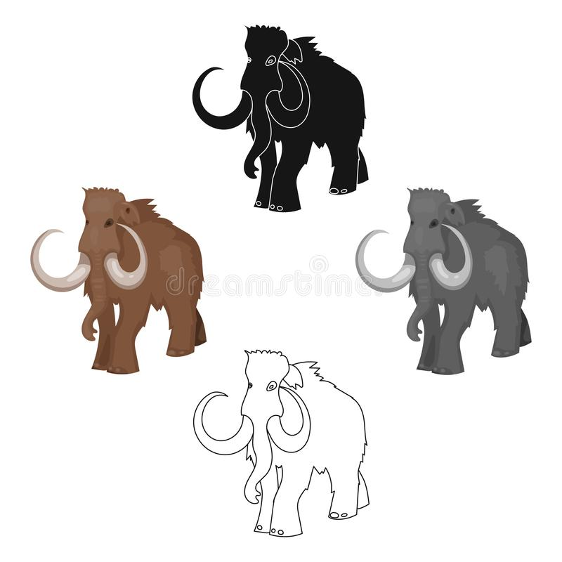 Woolly mammoth icon in cartoon,black style isolated on white background. Stone age symbol stock vector illustration. Woolly mammoth icon in cartoon,black style royalty free illustration