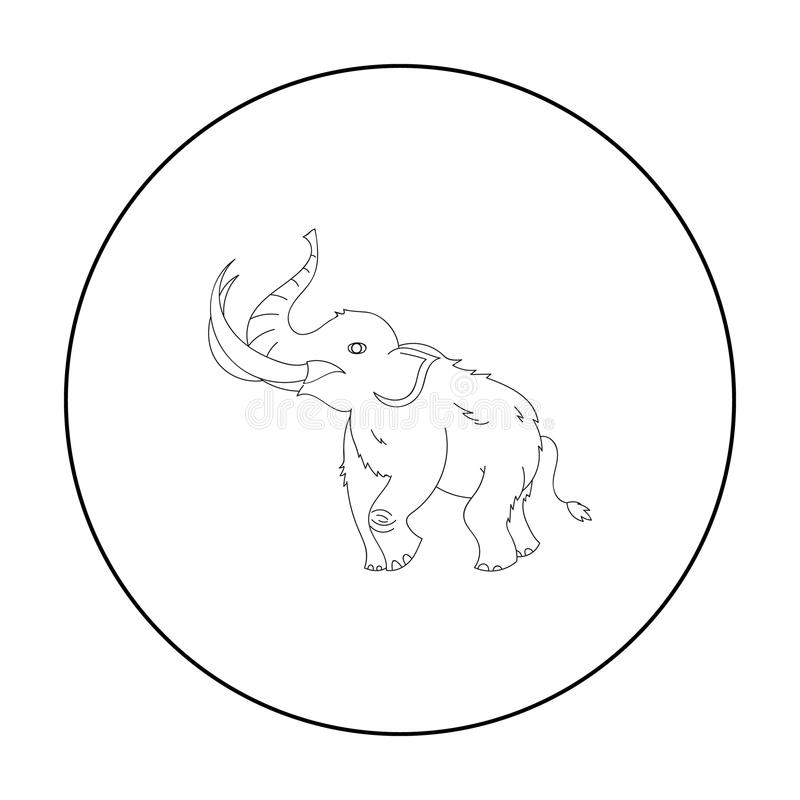 Woolly mammoth icon in outline style isolated on white background. Stone age symbol stock vector illustration. Woolly mammoth icon in outline style isolated on stock illustration