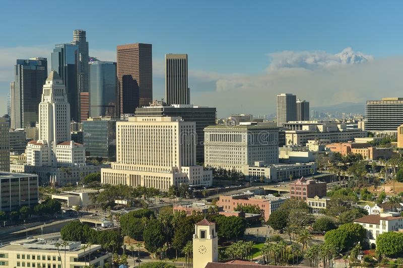 Woolsey Fire and Downtown Los Angeles skyline stock photography