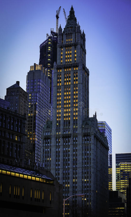 The Woolworth Building in New York City. The Woolworth Building, designed by architect Cass Gilbert and completed in 1913, is one of the oldest skyscrapers in stock image