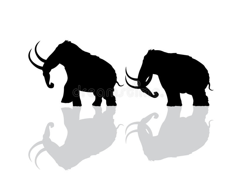 Wooly mammoth silhouette royalty free illustration