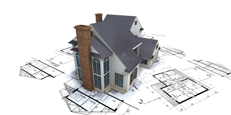 Woon huis op plans2 stock illustratie
