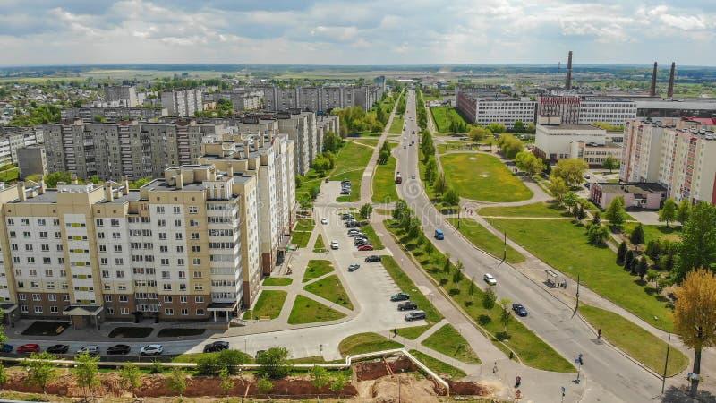 Woonbuurt Sloboda Stad Lida wit-rusland Mei 2019 Lucht Mening stock foto
