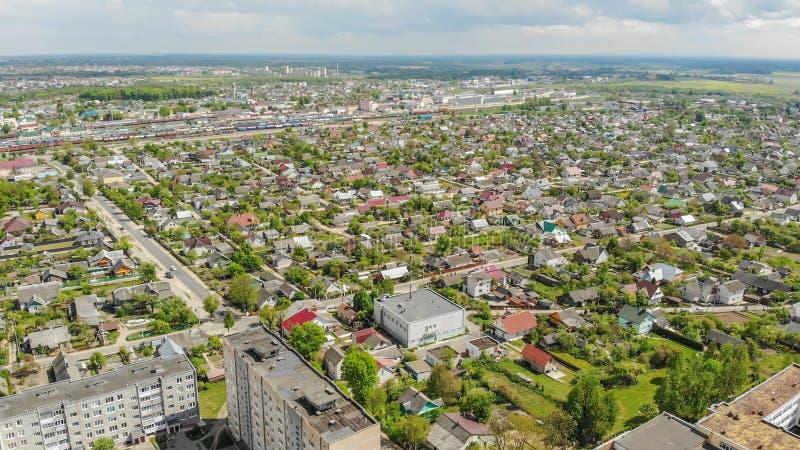 Woonbuurt Sloboda Stad Lida wit-rusland Mei 2019 Lucht Mening royalty-vrije stock foto