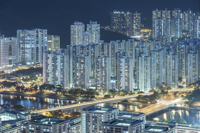 woondistrict van Hong Kong-stad bij nacht stock afbeelding