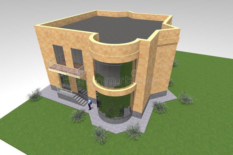 Woonhuis 3D ontwerp royalty-vrije illustratie