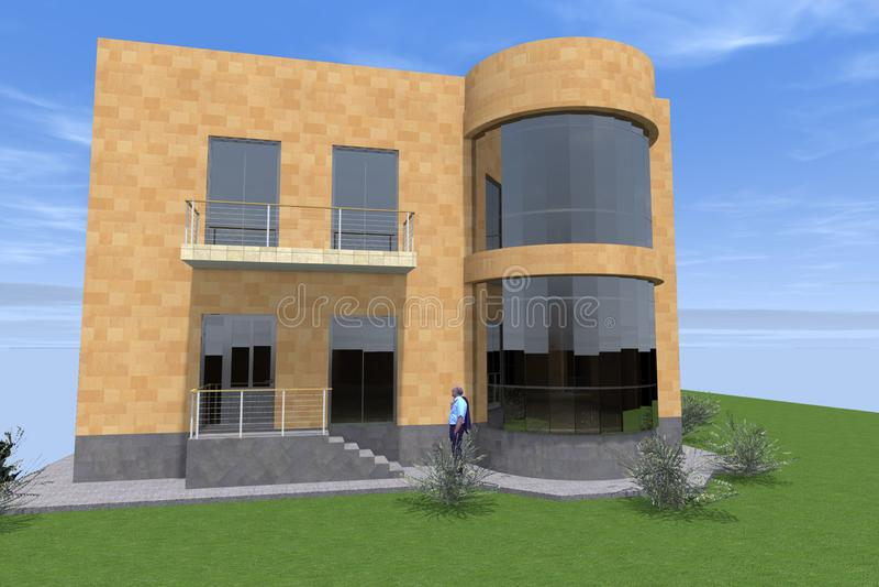 Woonhuis 3D ontwerp vector illustratie