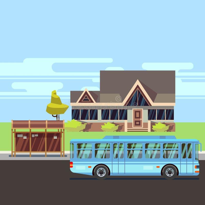 Woonhuis met bushalte Vlakke vector vector illustratie