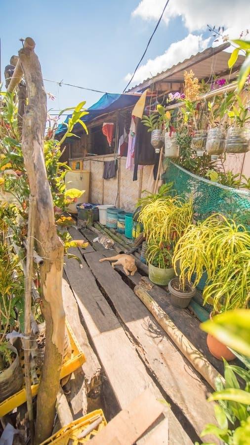 Woonhuizen in het slechte district van de stads` s Kroon Busuanga Meningen van de stads` s Krottenwijken van de rivier stock afbeelding
