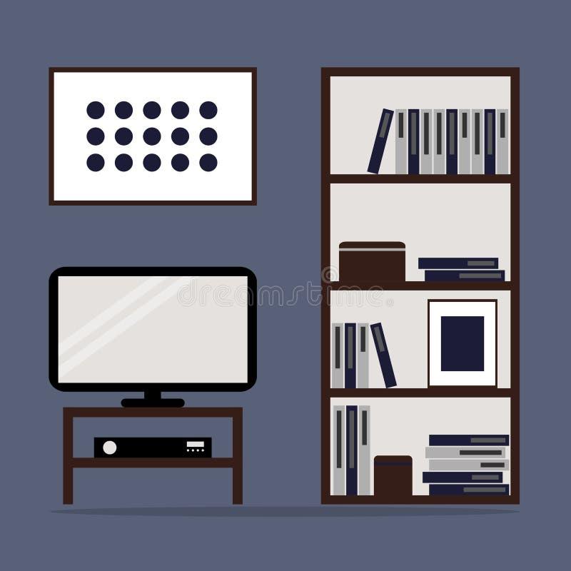 Woonkamer binnenlands ontwerp met boekenkast en TV stock illustratie