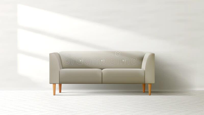 Woonkamer Binnenlandse Schone Muur met Grey Sofa stock illustratie