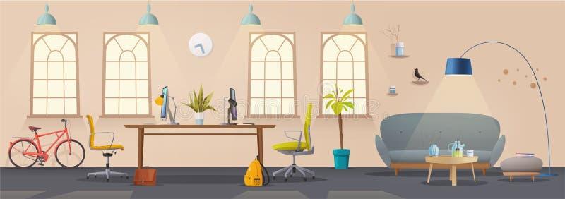 Woonkamer en bureaubinnenland Modern flat, van Skandinaviër of van de zolder ontwerp vector illustratie
