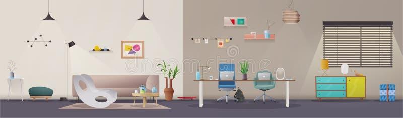 Woonkamer en bureaubinnenland Moderne flat Skandinaviër of zolderontwerp De vectorillustratie van het beeldverhaal vector illustratie
