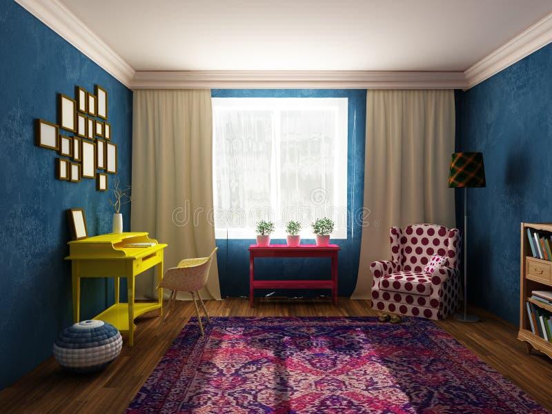 Woonkamer en kabinet in heldere kleuren, uitstekend meubilair en pop-artstijl stock illustratie