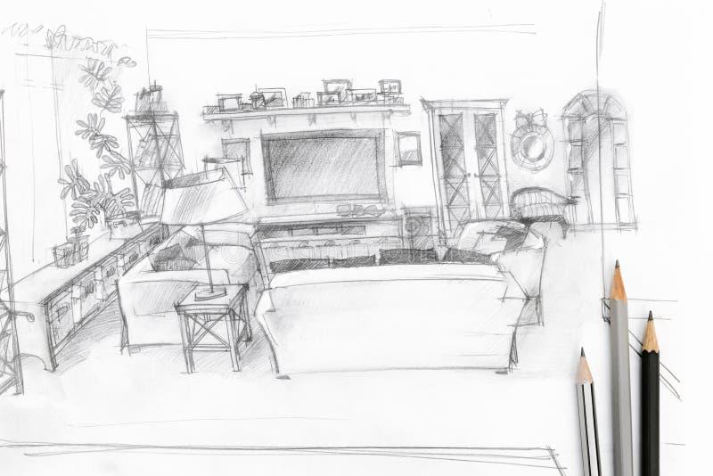 Woonkamer grafische schets met tekeningshulpmiddelen stock afbeelding