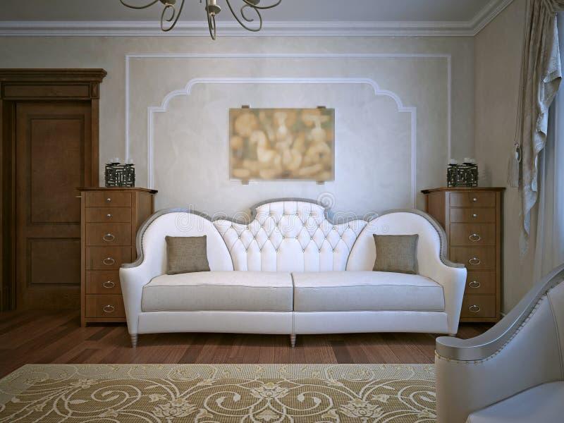 Woonkamer met eiken meubilair stock foto