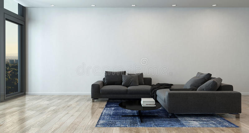 Woonkamer met Gray Sofa in Moderne Flat royalty-vrije stock afbeelding