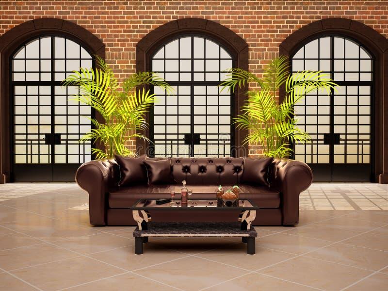 Woonkamer met grote overspannen vensters stock illustratie