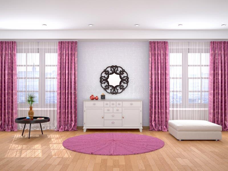 woonkamer met grote vensters en direct royalty-vrije illustratie