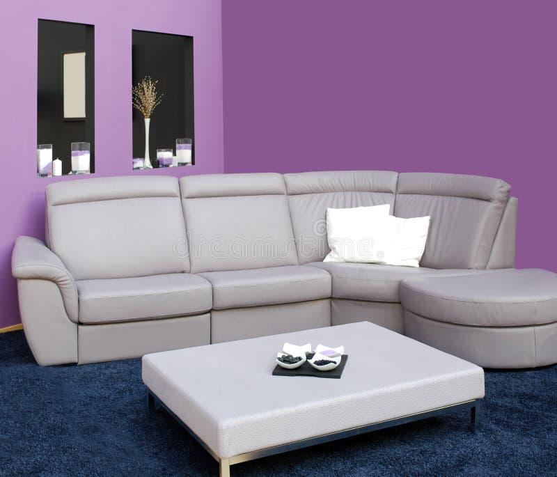 Woonkamer met meubilair stock afbeeldingen
