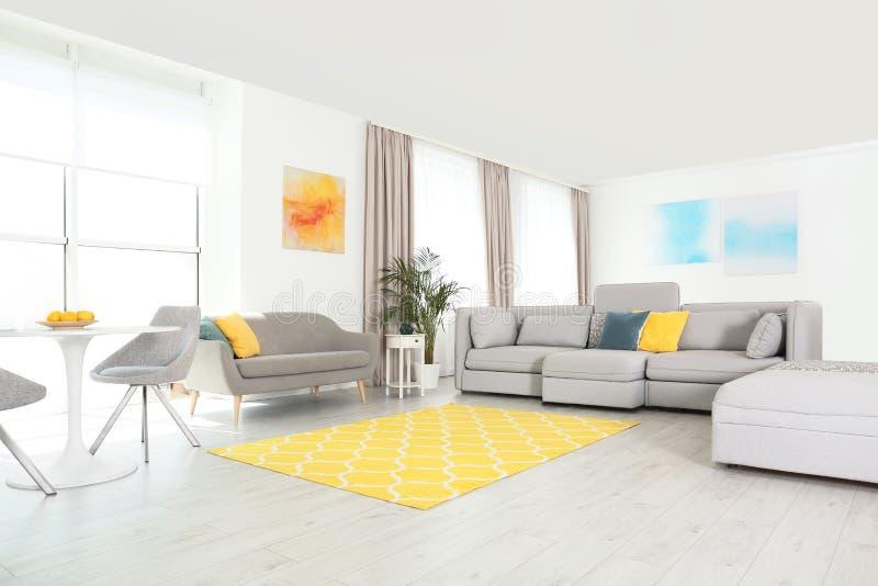 Woonkamer met modern meubilair en decor Kleurenideeën voor binnenland stock fotografie
