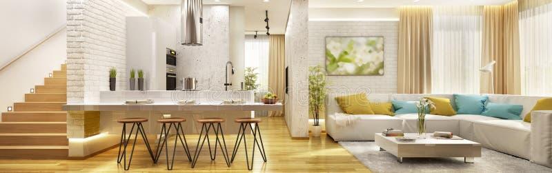 Woonkamer met moderne keuken in groot huis royalty-vrije stock afbeelding