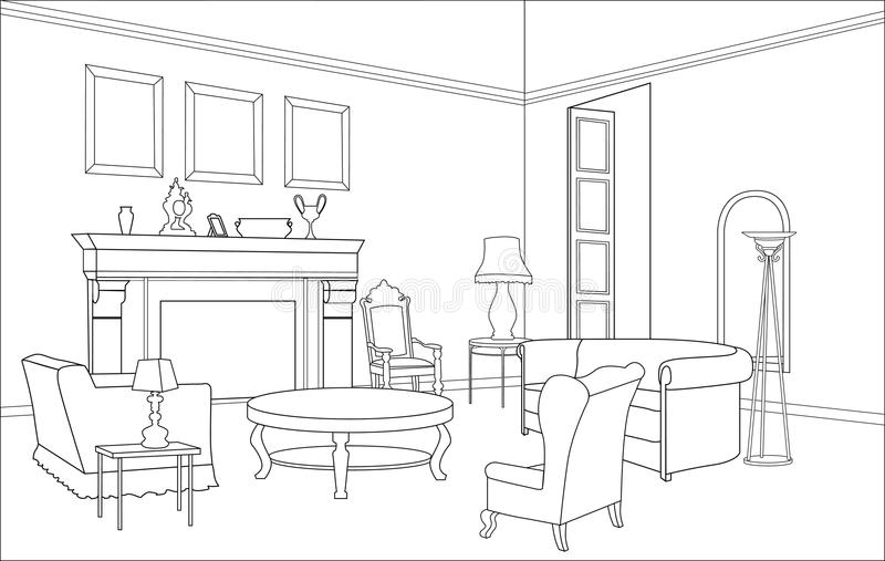 Woonkamer met open haard. Editablemeubilair. Binnenland in retro stijl royalty-vrije illustratie