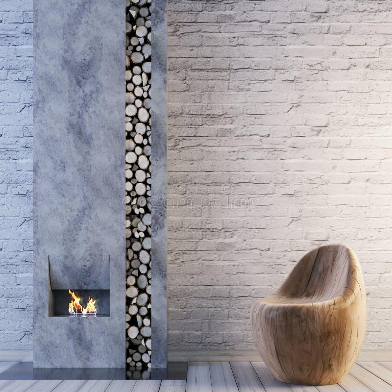 Woonkamer met open haardbinnenland en baksteen lege muur voor modelachtergrond stock illustratie