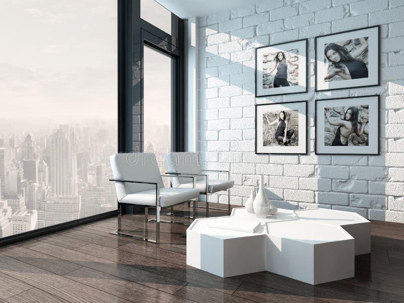 Woonkamer met witte bakstenen muur en stoelen stock illustratie afbeelding 40434447 - Bakstenen muur woonkamer ...