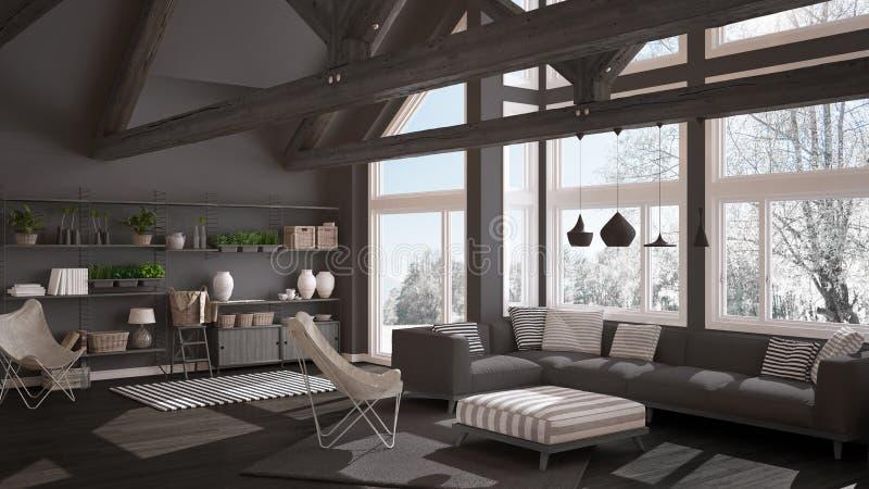 Woonkamer van het huis van luxeeco, parketvloer en houten dak t royalty-vrije illustratie
