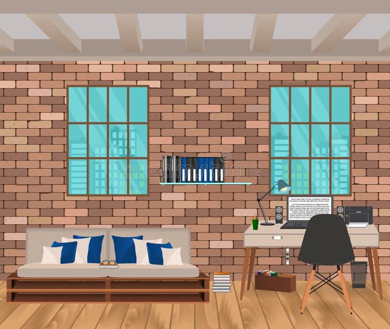 Woonkamerbinnenland in hipsterstijl met bakstenen muur, bank, werkplaats, boofshelf en vensters royalty-vrije illustratie