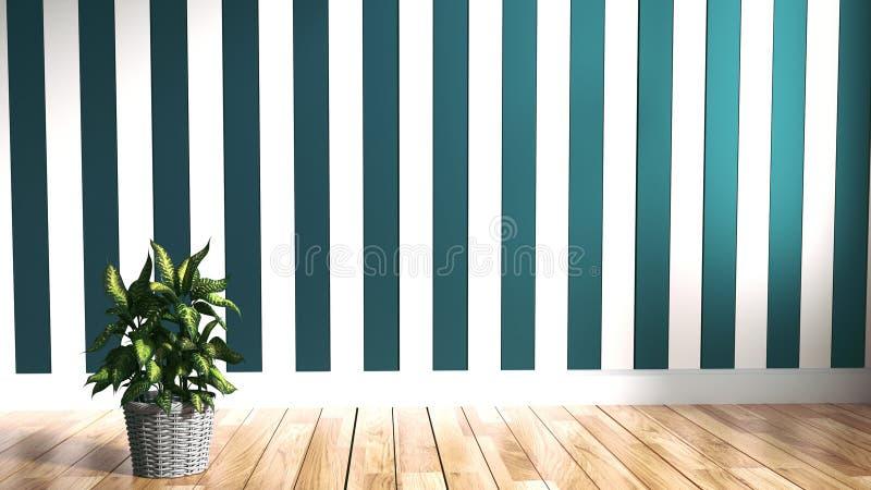 Woonkamerbinnenland, installaties houten op muurachtergrond het 3d teruggeven vector illustratie
