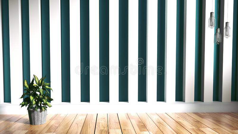 Woonkamerbinnenland, installaties houten op muurachtergrond het 3d teruggeven stock illustratie