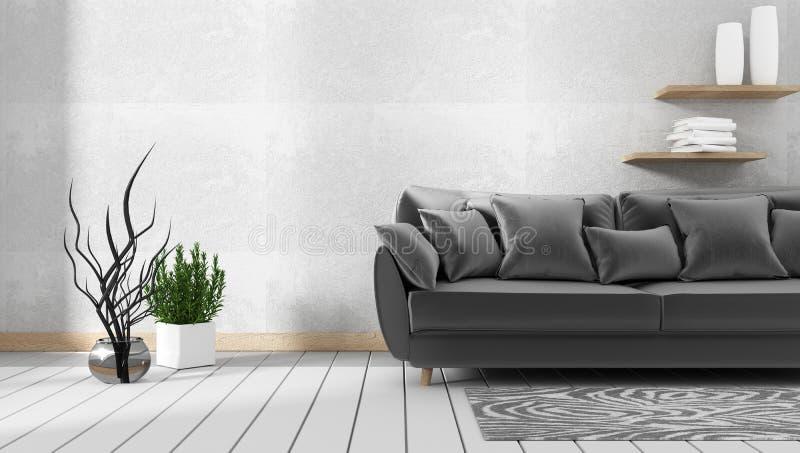 Woonkamerbinnenland met bank en groene installaties op de achtergrond van de granietmuur, minimale ontwerpen, het 3d teruggeven royalty-vrije illustratie