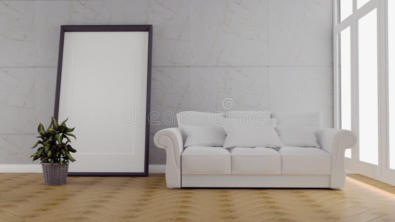 Woonkamerbinnenland met bank en tapijt, installaties op lege blauwe muurachtergrond het 3d teruggeven vector illustratie