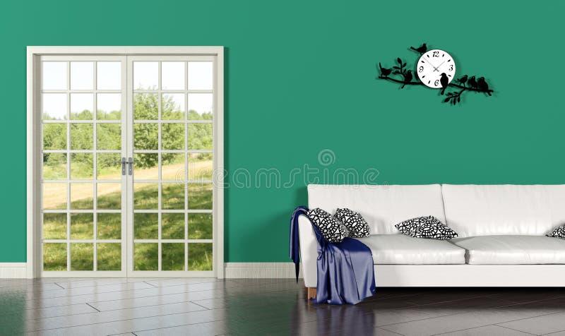 Woonkamerbinnenland met groene muur royalty-vrije stock fotografie