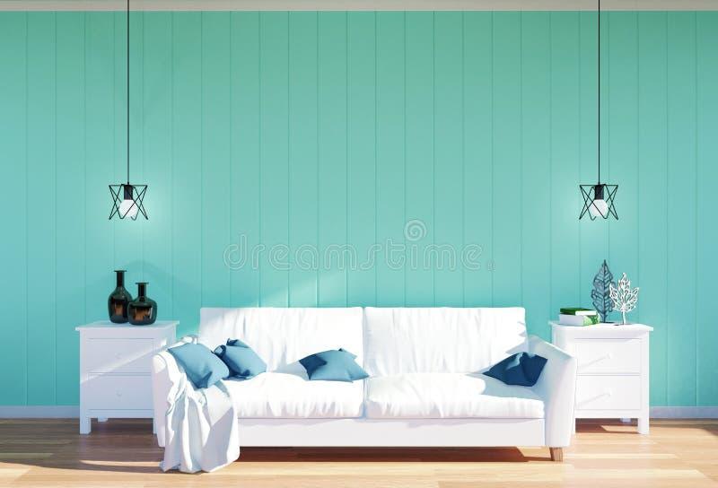 Woonkamerbinnenland - witte leerbank en groen muurpaneel met ruimte stock fotografie