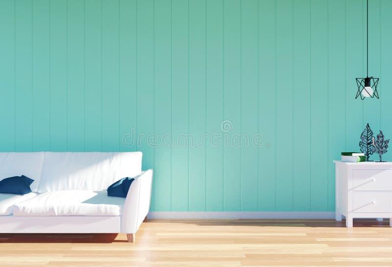 Woonkamerbinnenland - witte leerbank en groen muurpaneel met ruimte royalty-vrije stock afbeelding