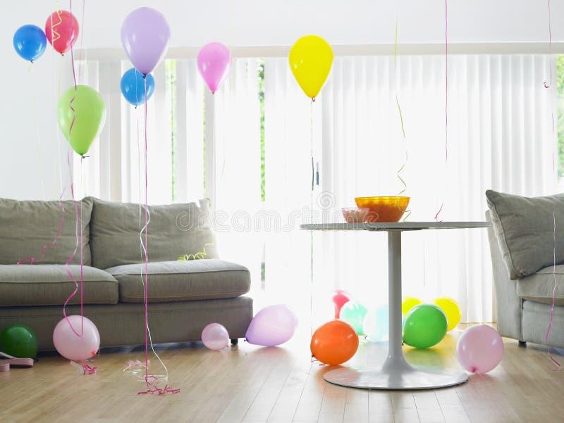 Woonkamerhoogtepunt van Ballons royalty-vrije stock afbeelding
