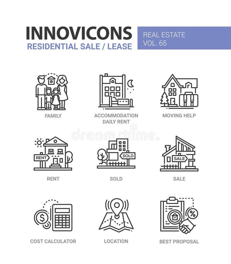 Woonverkoop en huur - geplaatste de pictogrammen van het lijnontwerp royalty-vrije illustratie
