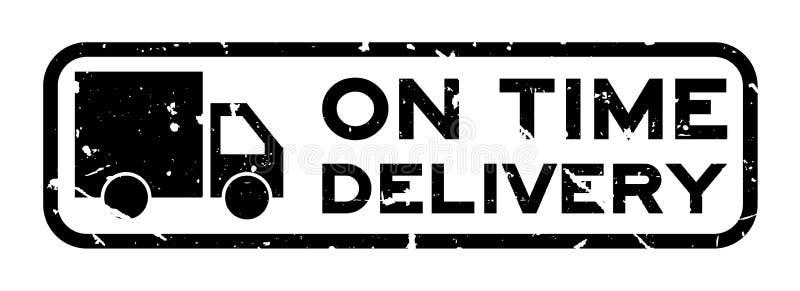 Woord van de Grunge het zwarte op tijd levering met de vierkante rubberzegel van het vrachtwagenpictogram op witte achtergrond vector illustratie