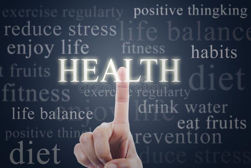 Woord van de vinger het dringende gezondheid royalty-vrije stock foto's