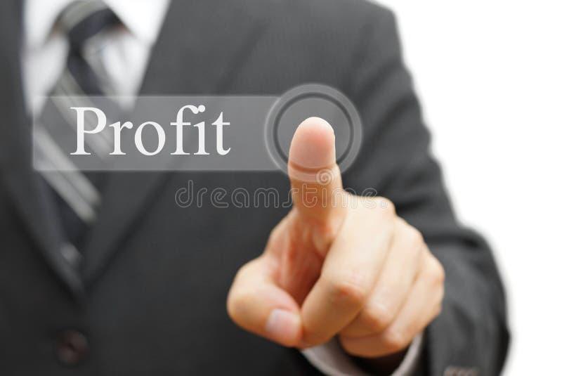 Woord van de zakenman het dringende winst op virtuele knoop royalty-vrije stock afbeeldingen