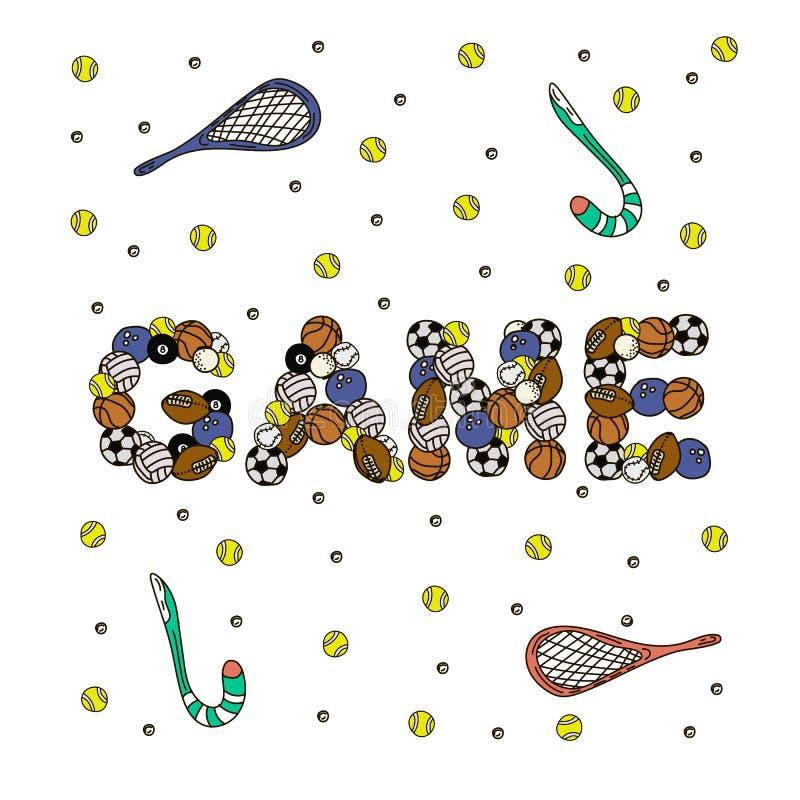Woord van Gamel van beeldverhaal het leuke krabbels Kleurrijke illustratie Achtergrond met veel afzonderlijke voorwerpen vectorku royalty-vrije illustratie