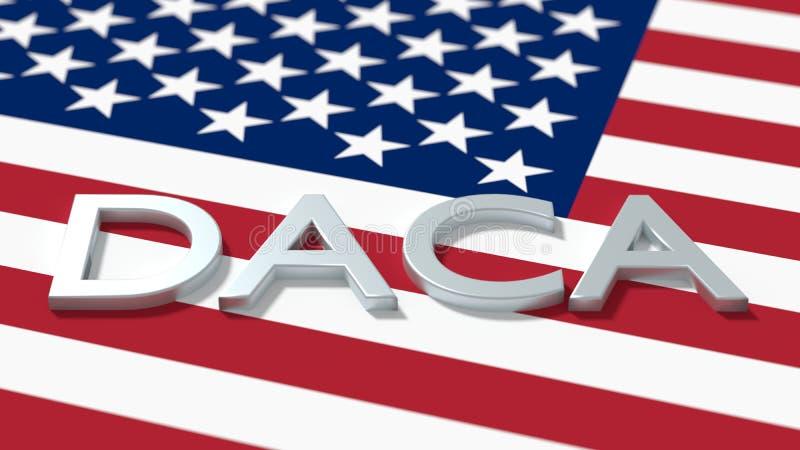 Woorddaca op een Amerikaans concept van de vlagimmigratie stock illustratie
