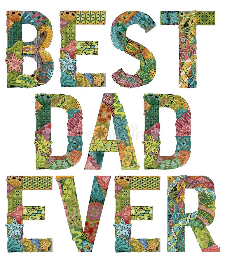 Woorden beste papa ooit Vector decoratief zentanglevoorwerp royalty-vrije illustratie