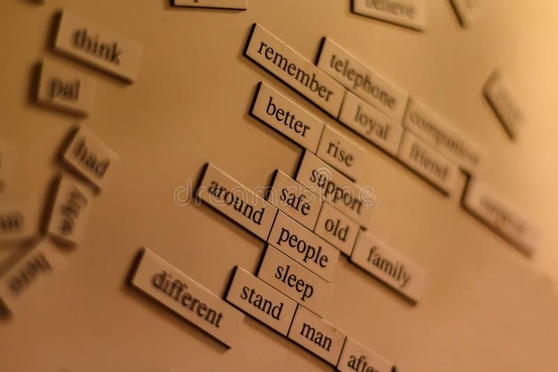 Woorden en uitdrukkingen stock fotografie